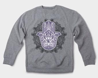 Graphic tee Hamsa Printed sweatshirt Talk to hamsa Yoga shirt Hamsa hand Meditation shirt Illuminati shirt Hamsa illuminati Third eye 028