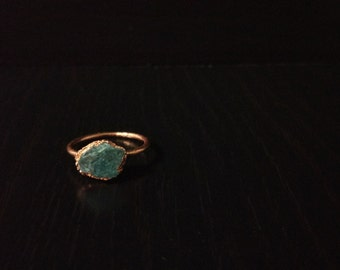 Boho blue aquamarine ring