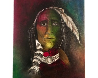 Original Oil On Canvas Painting Of Native American Indian Chief. Signed by Ezgi