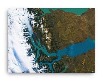 Los Glaciares Argentina Satellite Image Canvas Print