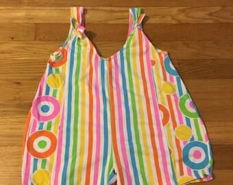 1980's neon stripes & circles geometric romper - size 6