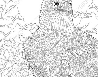 Adult Coloring Page Eagle Zentangle Doodle Coloring Pages