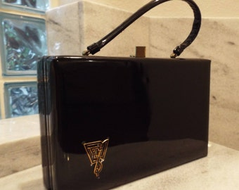 Vintage 1950s Black Patent Lewis Box Purse