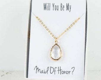 Crystal Gold Teardrop Necklace, Bridesmaid Crystal Necklace, Clear and Gold Necklace, Clear Wedding Accessory, Bridesmaid Jewelry
