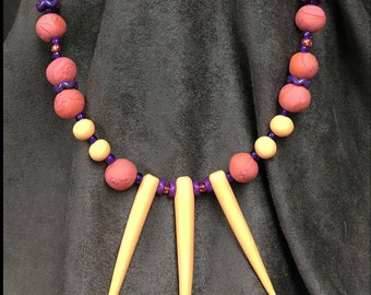 """Tribal Statement, Dagger Spike Necklace, Polymer Clay, Casual Jewelry, Hand Shaped Beads, 20"""" Necklace, Nice Gift, Unique, Orange, Purple"""