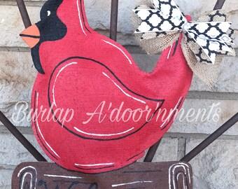Cardinal Burlap Door Hanger - Bird Door Decoration - Spring Door Hanger - Front Door Decor & Cardinals burlap | Etsy Pezcame.Com