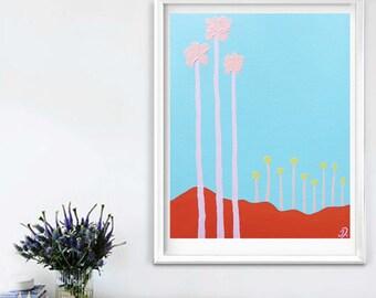 Palm Springs Desert, Original Painting, Canvas Art, Acrylic Paint, Pastel, Travel, Pop Art, Summer, Palm Trees, Landscape, Wall Art, Art