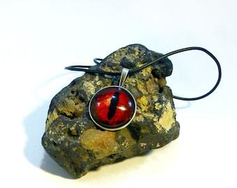Dragon Eye Beluzgur, Cabochon Silver Necklace, Dragon Necklace, Red Eye Cabochon