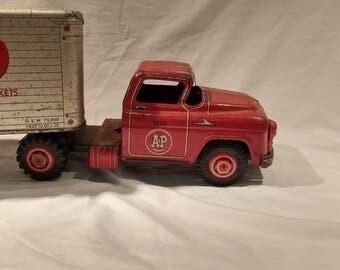 c. 1950s Vintage Marx A&P Super Markets Semi Tractor Trailer Semi Pressed Steel Toy Truck