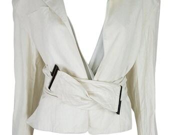 CLAUDE MONTANA Linen Cut Out Wrap Jacket (08)