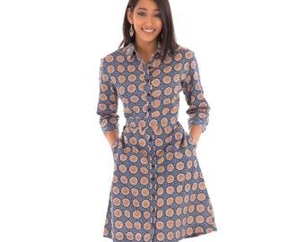 Blue Shirt Dress Cotton Blue Block Hand Print Mid Waist Tie Adjustable Sleeves Knee Length with Pockets