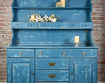 Aubusson Blue Distressed Solid Wood Hutch Cabinet