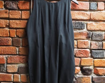 Women's 90s Backless Little Black Dress LBD With Pearl Straps Size 14