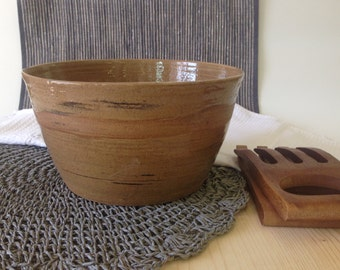 brown ceramic bowl, salad bowl, pottery bowl, Housewarming gift, Large salade bowl, Fruit bowl, Cooking bowl, Ready to ship, gift for her.