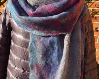 Nuno felted  cobweb scarf, blue, pink and purple colours, handmade, merino wool, silk fibres, silk