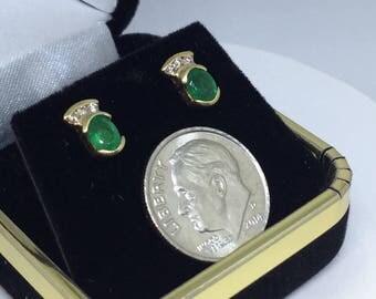 Genuine Emeral & Diamonds Stud Earings, 50% off