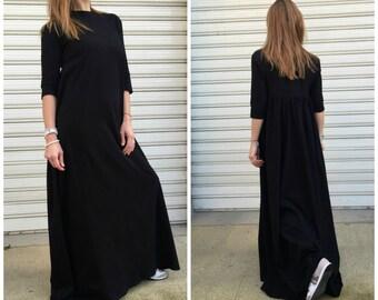 "Black Maxi Dress / Women Long Cotton Dress / Oversize Black Dress / Loose Maxi Caftan - ""FF Candy"""