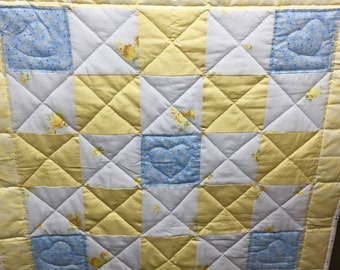 Handmade Baby Quilt in yellow and blue