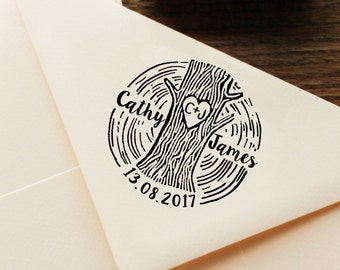 Custom Save The Date Stamp, Personalized Rubber Stamp, Wood Mounted Rubber Stamp, Invitation Stamp, Rustic Wedding Stamp Tree Stamp NHS11A