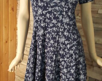 70s summer dress in navy blue,classic summer dress ,half length sleeve (2)