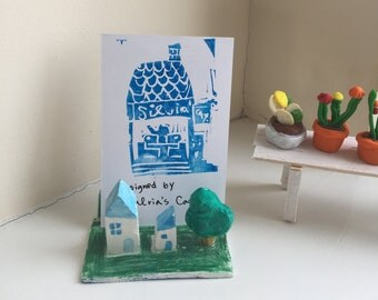 Business Card Holder - Blue Houses and Tree