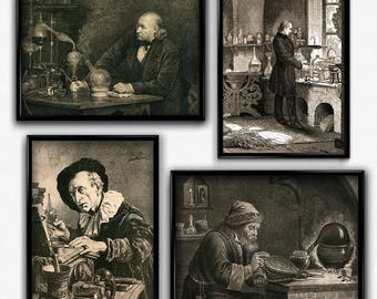Biology, Chemistry, Alchemy, Laboratory Vintage Print Set of Four - Science Poster - Chemistry Poster - Office Decor - Office Art - Science