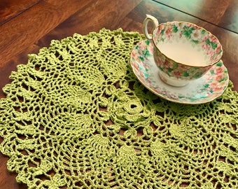 Green ruffled doily. Crocheted with love!