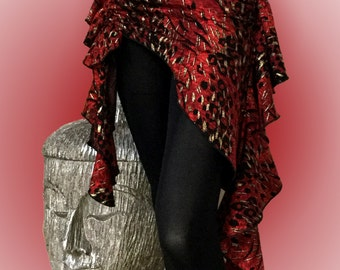 Sultry Belly Dance Hip Scarf / Asymmetrical Overskirt - Black & Red with Gold Accents