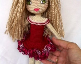 Crochet Doll Handmade by Kindabam Crochet  30 cm tall