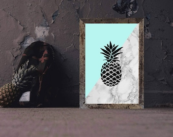 Blue | Marble Pineapple 8x10