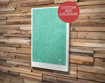 Custom Map Art Mounted Canvas. Personalised Print Any Location. Mono Design. Personalised Map Print.