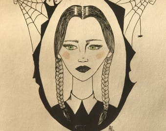 Original Quirky Illustration Wednesday Addams