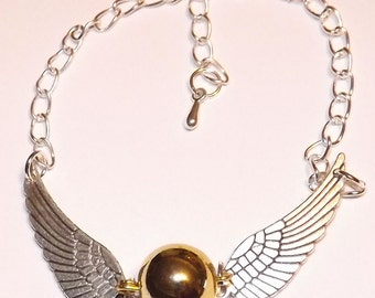 Golden Snitch Bracelet Gold Color Ball / Silver Color Wings