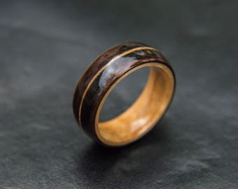Maple / Ebony / Guitar string ring,  Mens Wedding band, Wooden wedding band, Mens wedding ring