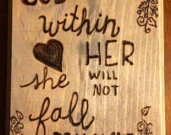 Wood Burned Wall Hanging Psalm 46:5