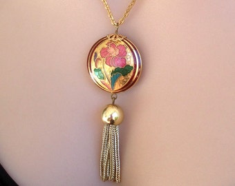 Gold necklace Vintage Tassel Bohemian jewelry Flower Pendant Retro Jewelry Boho 90s 80s FREE SHIPPING !!