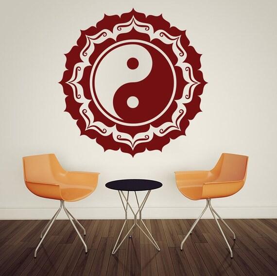 Vinyl Wall Decal -  Mandala Buddha OM Vinyl Mural Bedroom Wall Stickers Yin Yang Pattern Art