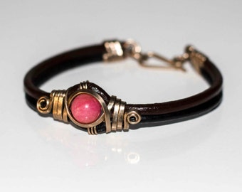 Bracelet Rodonite, leather and German silver. Handmade