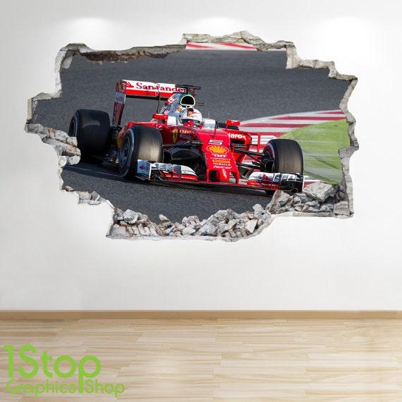 Formel 1 wandtattoo 3d look jungen kinder schlafzimmer - Wandtattoo ferrari ...