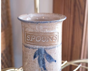SPOONS Utensil Holder | Vintage Stoneware Kitchen Decor | Pottery Utensil Crock | Ceramic Kitchen Utensil Vase