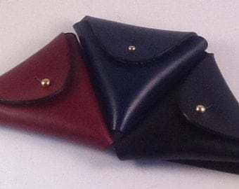 Triangle coin and ear phones leather pouch