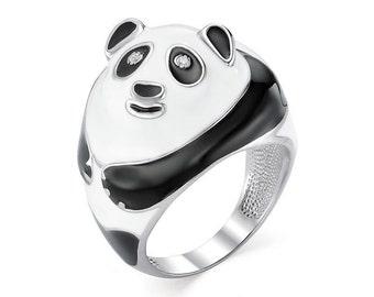 """Silver ring """"Panda"""", Animal ring,  Enamel ring, Panda ring"""