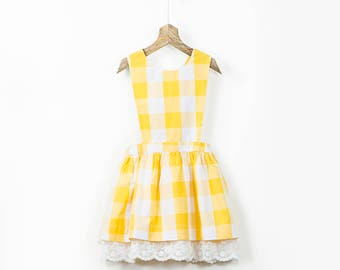 Cross Back Yellow Checkered Pinafore Dress with Lace in cotton