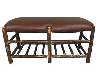 Hickory Moose Bench with Lower Rack - Hand Made