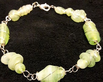 Light Green Wire Wrapped Bracelet