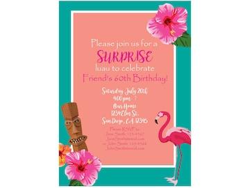 Luau Invitation - Pink & Teal