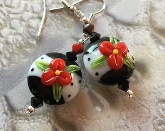 Floral SRA Lampwork Earrings, SRA Lampwork Jewelry, Mothers Day, Gift For Her, Flower Earrings