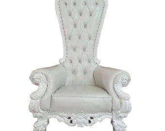 TEMPORARILY OUT of STOCK Throne Chair White with White Trim