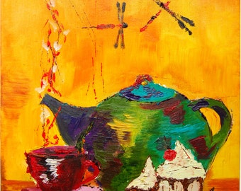 5 o'clock tea. original oil painting on canvas ready to hang
