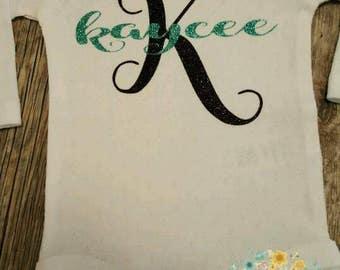 Preemie, Newborn, Baby Girl, Toddler, Girls, Personalized, Monogramed Name, Shirt or Bodysuit